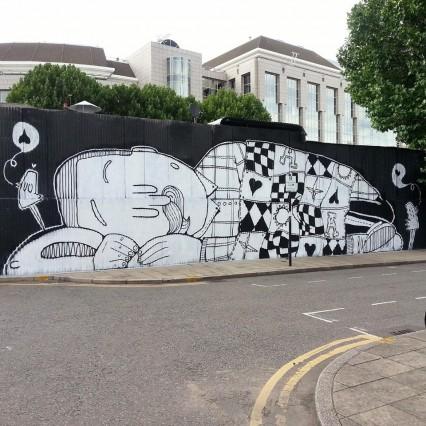 street art london alex senna  mural sleepy
